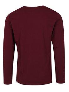 Vínové pánske slim fit tričko s dlhým rukávom s.Oliver