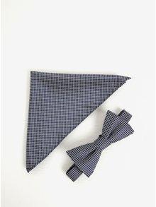Set motýlku a kapesníčku modro-bílé barvě Selected Homme Xin