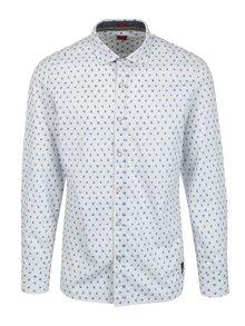 Bílá pánská vzorovaná slim košile s dlouhým rukávem s.Oliver
