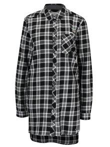 Camasa lunga alb & negru cu print tartan pentru femei s.Oliver