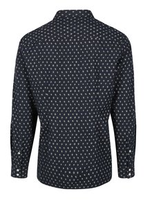 Tmavomodrá pánska vzorovaná slim košeľa s dlhým rukávom s.Oliver
