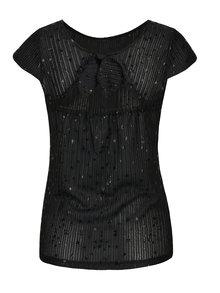 Černý top s lesklým vzorem Rich & Royal