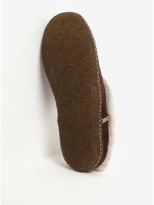 Papuci din piele intoarsa bordo & crem cu blana artificiala pentru femei - SOREL