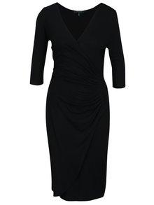 Černé šaty s překládaným výstřihem Fever London Alberta
