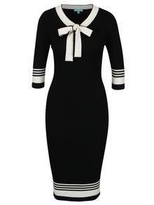 Rochie tricotata midi negru cu crem cu funda Fever London Leon