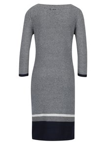 Bílo-modré svetrové pruhované šaty s 3/4 rukávem s.Oliver