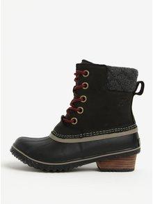 Černé dámské kotníkové kožené voděodolné zimní boty na nízkém podpatku SOREL