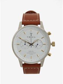 Unisex hodinky v striebornej farbe s hnedým koženým remienkom TRIWA Snow Nevil