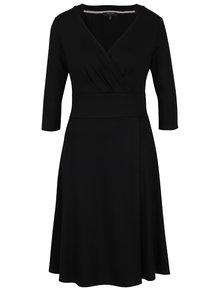 Černé šaty s překládaným výstřihem Fever London Andrea