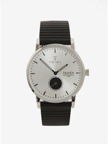 Ceas argintiu cu curea neagra din piele pentru barbati - TRIWA Charles Falken