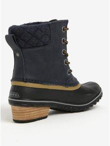 Modré dámske členkové kožené vodovzdorné zimné topánky na nízkom podpätku  SOREL