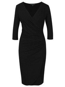 Tmavě šedé pouzdrové šaty s překládaným výstřihem Fever London Doya