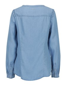 Bluza albastra din denim cu volane scurte pentru femei s.Oliver