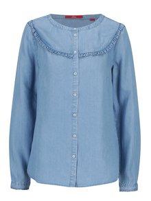 Světle modrá dámská džínová halenka s volány s.Oliver