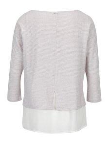 Svetloružové dámske pruhované tričko s 3/4 rukávom s.Oliver