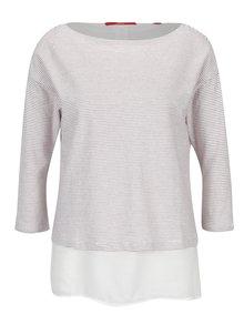 Tricou rosu & alb cu print si maneci 3/4 pentru femei s.Oliver