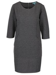 Šedé žebrované šaty se 3/4 rukávem Fever London Freya