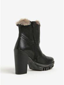 Černé kožené kotníkové boty na podpatku bugatti Jaimie