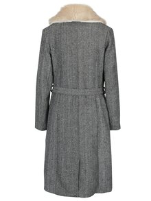 Palton cu guler de blana si model Herringbone Fever London Enid