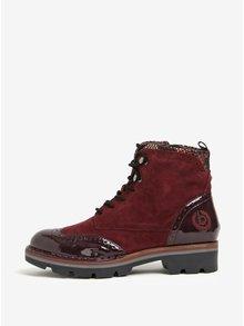 Vínové kožené členkové topánky s lesklými detailmi bugatti Gesa