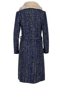 Palton multicolor albastru cu blana si cordon Fever London Enid