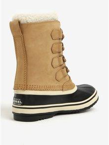 Světle hnědé dámské kožené voděodolné zimní boty s umělým kožíškem SOREL