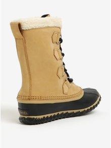 Béžové dámské kožené voděodolné zimní boty s umělým kožíškem SOREL