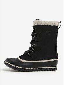 Černé dámské kožené voděodolné zimní boty s umělým kožíškem SOREL