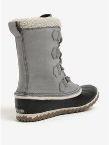 Sivé dámske kožené vodovzdorné zimné topánky s umelým kožúškom SOREL