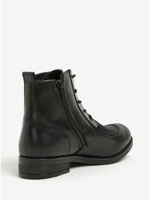Čierne dámske kožené členkové topánky so šnurovaním Fly London