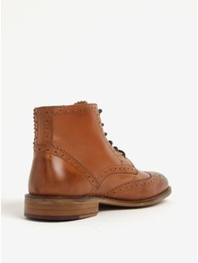 Hnědé kožené kotníkové brogue boty London Brogues Gatsby High