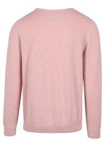 Svetloružový pánsky sveter s okrúhlym výstrihom s.Oliver