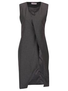 Sivo-hnedá melírovaná dlhá vesta La femme MiMi