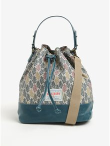 Tyrkysovo-krémová vzorovaná sťahovacia kabelka Brakeburn