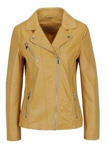 Žltá dámska kožená bunda KARA Kenya