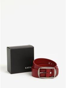 Červený dámsky kožený opasok s prackou v striebornej farbe KARA