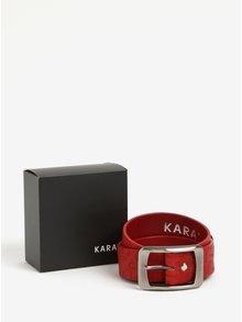Curea rosie din piele naturala si model discret pentru femei -  KARA
