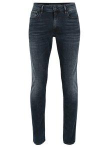 Tmavě modré pánské slim džíny s vyšisovaným efektem Calvin Klein Jeans
