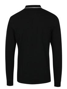 Černé polo tričko s dlouhým rukávem Jack & Jones Premium Paulos