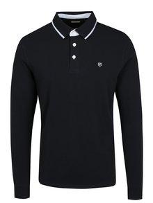 Tmavě modré polo tričko s dlouhým rukávem Jack & Jones Premium Paulos