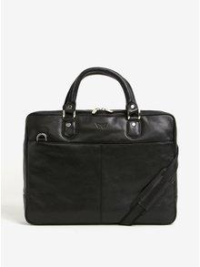 Černá pánská kožená taška na notebook KARA
