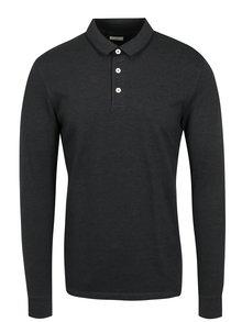 Tmavě šedé polo tričko s dlouhým rukávem Jack & Jones Premium Paulos