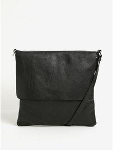 Čierna dámska kožená crossbody kabelka s klopou KARA