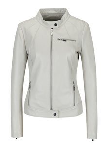 Jacheta biker crem din piele naturala pentru femei - KARA Di Maggio