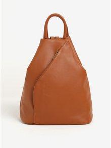 Hnedý dámsky kožený batoh/kabelka KARA