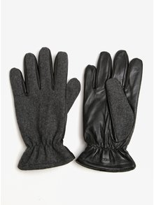 Čierno-sivé rukavice s prímesou vlny a koženou spodnou časťou Jack & Jones Ray