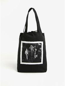 Čierna plátenná taška s nášivkou retro ľudí La femme MiMi Teta Věra no.3