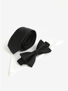 Set kravaty, motýlku a kapesníčku v černé a bílé barvě Jack & Jones Premium Necktie