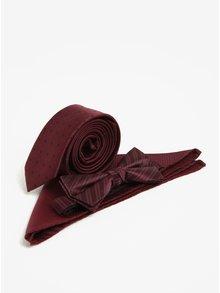Set kravaty, motýlku a kapesníčku ve vínové barvě Jack & Jones Premium Necktie