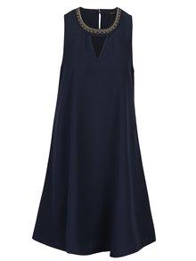 Tmavomodré šaty s korálkovou aplikáciou VERO MODA June Bead